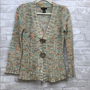 BCBGMAXAZRIA knit cardigan with flower buttons